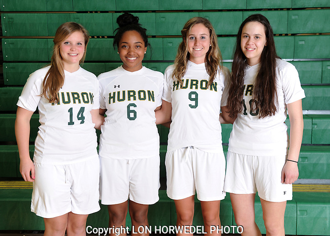 Huron High School varsity girl's soccer, 4-10-13.