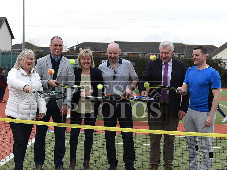 Fergus O'Dowd TD with his wife Agnes, Richard Fahy CEO Tennis Ireland, Cllr Sharon Tolan, Club Chairperson Stephen Moore and Director of Tennis David Black at the Laytown and Bettystown Tennis Club Promotion day. Photo:Colin Bell/pressphotos.ie