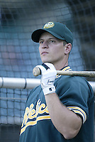 Mark Ellis of the Oakland Athletics before a 2002 MLB season game against the Los Angeles Angels at Angel Stadium, in Anaheim, California. (Larry Goren/Four Seam Images)