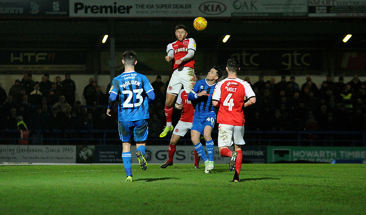 Fleetwood Town's Wes Burns battles with Rochdale's Ian Henderson<br /> <br /> Photographer Hannah Fountain/CameraSport<br /> <br /> The EFL Sky Bet League One - Rochdale v Fleetwood Town - Saturday 19 January 2019 - Spotland Stadium - Rochdale<br /> <br /> World Copyright &copy; 2019 CameraSport. All rights reserved. 43 Linden Ave. Countesthorpe. Leicester. England. LE8 5PG - Tel: +44 (0) 116 277 4147 - admin@camerasport.com - www.camerasport.com