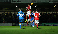 Fleetwood Town's Wes Burns battles with Rochdale's Ian Henderson<br /> <br /> Photographer Hannah Fountain/CameraSport<br /> <br /> The EFL Sky Bet League One - Rochdale v Fleetwood Town - Saturday 19 January 2019 - Spotland Stadium - Rochdale<br /> <br /> World Copyright © 2019 CameraSport. All rights reserved. 43 Linden Ave. Countesthorpe. Leicester. England. LE8 5PG - Tel: +44 (0) 116 277 4147 - admin@camerasport.com - www.camerasport.com