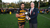 Counties Manukau President Gary Wright presents Bombay Captain Pat Masoe with McNamara Cup. Counties Manukau Premier 1 McNamara Cup Final between Ardmore Marist and Bombay, played at Navigation Homes Stadium on Saturday July 20th 2019.<br />  Bombay won the McNamara Cup for the 5th time in 6 years, 33 - 18 after leading 14 - 10 at halftime.<br /> Photo by Richard Spranger.