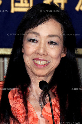 Yumiko Yamamoto, President of Nadeshiko Action attends a press conference at the Foreign Correspondents Club of Japan on July 9, 2014. Yamamoto explained her belief that what many people now refer to as comfort women were not in fact sex slaves. Instead she argues that the women were actually paid prostitutes who volunteered to work for the Japanese Army. As President of Nadeshiko and the organization of Japanese Women for Justice, Yamamoto will attend the next session of the UN Human Rights Commission in Geneva starting on July 14th 2014 where the issue of wartime comfort women will be addressed. (Photo by Rodrigo Reyes Marin/AFLO)