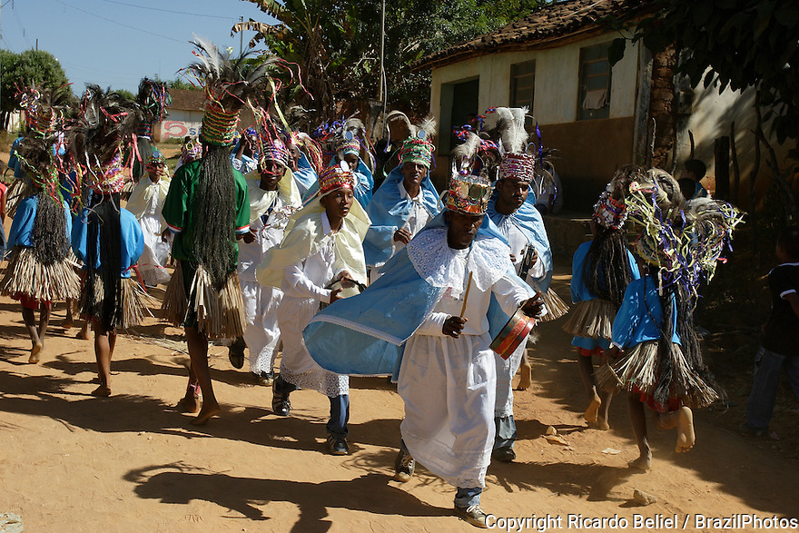 Congado and Caboclo groups, Festa do Divino Espírito Santo. São Romão, Minas Gerais State, Brazil. Congado is a cultural and religious manifestation of African influence celebrated in some regions of Brazil.