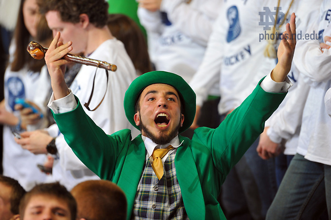 Jan. 20, 2012; The leprechaun cheers in the student section at the Compton Family Ice Arena.