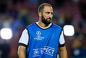 12th September 2017, Camp Nou, Barcelona, Spain; UEFA Champions League Group stage, FC Barcelona versus Juventus; Gonzalo Higuaín of Juventus of Juventus during the warm up