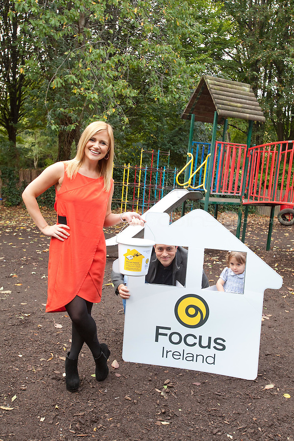 NO REPRO FEE. 18/10/2011. Focus Ireland Ambassadors - TV3's Karen Koster, RTE's Baz Ashmawy and 4 year old Ava O'Donnell teamed up with Focus Ireland to make an urgent appeal for people to volunteer to take part in the charity's annual 'Key to a Home Collections' on November 18th - 21st.Volunteers are needed nationwide to sell key rings and shake buckets to raise vital funds to help Focus Ireland's work each year supporting over 6,500 people who are homeless or at risk of losing their home. You can get involved by calling 01 881 59 00, emailing events@focusireland.ie or by visiting www.facebook.com/focusirelandcharity. Picture James Horan/Collins