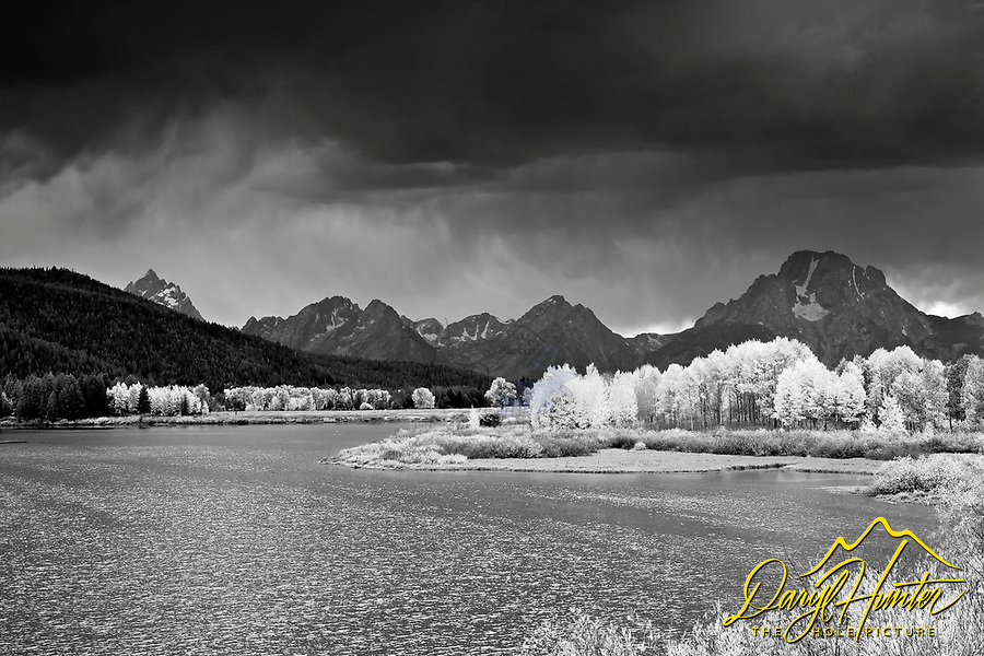 Black and white of Grand Tetons, clearing storm, and Oxbow Bend in Autumn.