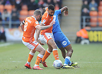 Blackpool's Curtis Tilt and Jay Spearing vie for possession with Peterborough United's Ivan Toney<br /> <br /> Photographer Kevin Barnes/CameraSport<br /> <br /> The EFL Sky Bet League One - Blackpool v Peterborough United - Saturday 13th April 2019 - Bloomfield Road - Blackpool<br /> <br /> World Copyright &copy; 2019 CameraSport. All rights reserved. 43 Linden Ave. Countesthorpe. Leicester. England. LE8 5PG - Tel: +44 (0) 116 277 4147 - admin@camerasport.com - www.camerasport.com