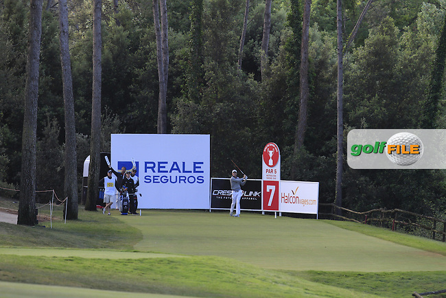 Andrew Dodt (ENG) on the 7th tee during Round 3 of the Open de Espana  in Club de Golf el Prat, Barcelona on Saturday 16th May 2015.<br /> Picture:  Thos Caffrey / www.golffile.ie