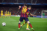 UEFA Champions League 2013/2014.<br /> Quarter-finals 1st leg.<br /> FC Barcelona vs Club Atletico de Madrid: 1-1.<br /> Lionel Messi vs Diego.