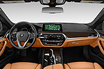 Stock photo of straight dashboard view of 2019 BMW 5-Series 530I-Sport-Line 4 Door Sedan Dashboard