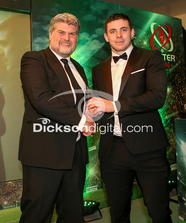Thursday 10th May 2018 | Ulster Rugby Awards 2018<br /> <br /> Richard Eccles from BT presents the BT Young Player of the Year Award to Nick Timoney, during the 2018 Heineken Ulster Rugby Awards at La Mom Hotel, Belfast. Photo by John Dickson / DICKSONDIGITAL