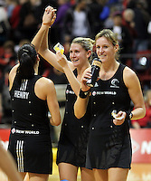01.09.2010 Silver Ferns Temepara George, Casey Williams and Leana De Bruin in action during the Silver Ferns v Australia New World netball test match in Wellington. Mandatory Photo Credit ©Michael Bradley.