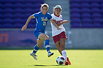 ORLANDO, FL - DECEMBER 03: Jessie Fleming #21 of UCLA and Tegan McGrady #9 of Stanford University battle for the ball during the Division I Women's Soccer Championship held at Orlando City SC Stadium on December 3, 2017 in Orlando, Florida. Stanford defeated UCLA 3-2 for the national title. (Photo by Jamie Schwaberow/NCAA Photos via Getty Images)