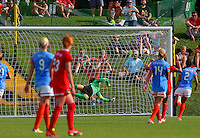 BOYDS, MD - May 26 2014: Christine Nairn of the Washington Spirit scores the winning goal in the 93rd. minute during Washington Spirit v Houston Dash NWSL match at Maryland Sportsplex, in Boyds, Maryland. Spirit won 3-2.