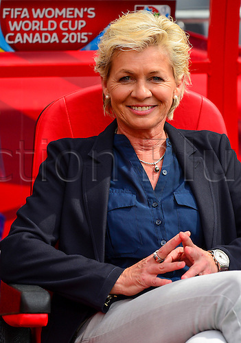 07.06.2015. Lansdowne Park, Ottawa, Canada. Germany Coach Silvia Neid smiles for the press before the FIFA 2015 Women's World Cup Group B match between Germany and Ivory Coast  at Lansdowne Park in Ottawa, Canada.