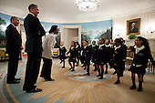 "United States President Barack Obama and Governor Deval Patrick (Democrat of Massachusetts) listen as students from Orchard Gardens K-8 School in Roxbury, Massachusetts, perform Dr. Martin Luther King Jr.'s ""I Have a Dream"" speech in the Diplomatic Reception Room of the White House, February 28, 2012. .Mandatory Credit: Pete Souza - White House via CNP"