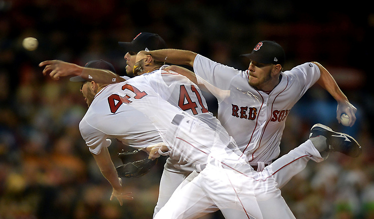 (Boston, MA, 04/05/17) A multiple exposure photograph shows Boston Red Sox starting pitcher Chris Sale delivering a pitch against the Pittsburgh Pirates during the sixth inning of a Major League Baseball game at Fenway Park in Boston on Wednesday, April 05, 2017. Photo by Christopher Evans
