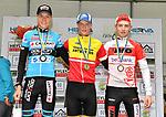 2018-09-15 / Veldrijden / Seizoen 2018 / PK Junioren Vorselaar / Het podium met kampioen Ward Huybs (Herselt), Witse Meeussen (l. 2e uit Vlimmeren) en Wout Vervoort (r. 3e uit Noorderwijk)<br /> <br /> ,Foto: Mpics