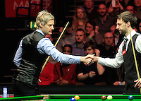 Neil Robertson and Judd Trump shake hands before the start of the match in the Dafabet Masters Quarter Final 2 match between Judd Trump and Neil Robertson at Alexandra Palace, London, England on 15 January 2016. Photo by Liam Smith / PRiME Media Images.