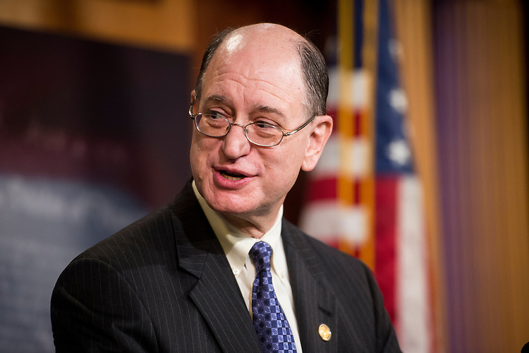 "UNITED STATES - MAY 6: Rep. Brad Sherman, D-Calif., speaks during the news conference with Sen. Bernie Sanders, I-Vt., to unveil legislation to ""break up the nation's biggest banks"" on Wednesday, May 6, 2015. (Photo By Bill Clark/CQ Roll Call)"