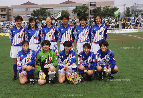 Japan team group line-up (JPN),.MAY 5, 1995 - Football / Soccer :.Japan team group shot (Top row - L to R) Rie Yamaki, Futaba Kioka, Yumi Tomei, Yumi Obe, Maki Haneta, Asako Takakura, (Bottom row - L to R) Tamaki Uchiyamam, Junko Ozawa, Akemi Noda, Kae Nishina and Homare Sawa before the ICE BOX CUP 1st Women's Football International Friendly Match (1995 FIFA Women's World Championship Send-off Match) between Japan 1-0 Canada at Nishigaoka Stadium in Tokyo, Japan. (Photo by AFLO)