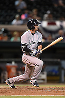 Tampa Yankees shortstop Tyler Wade (17) at bat during a game against the Lakeland Flying Tigers on April 9, 2015 at Joker Marchant Stadium in Lakeland, Florida.  Tampa defeated Lakeland 2-0.  (Mike Janes/Four Seam Images)
