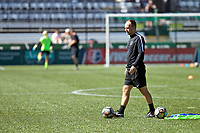 Portland, OR - Saturday August 05, 2017: Mark Parsons during warmups before a regular season National Women's Soccer League (NWSL) match between the Portland Thorns FC and the Houston Dash at Providence Park.