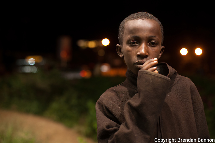 Daniel Maina, 13, a street kid in Nairobi's Westlands neighborhood.