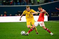 Kevin De Bruyne forward of Belgium, Aleksei Ionov midfielder of Russia  <br /> Saint Petersbourg  - Qualification Euro 2020 - 16/11/2019 <br /> Russia - Belgium <br /> Foto Photonews/Panoramic/Insidefoto <br /> ITALY ONLY