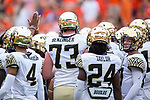 The Wake Forest Demon Deacons huddle up prior to the game against the Clemson Tigers at Memorial Stadium on October 7, 2017 in Clemson, South Carolina.  The Tigers defeated the Demon Deacons 28-14. (Brian Westerholt/Sports On Film)