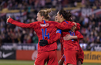 COLUMBUS, OH - NOVEMBER 07: Emily Sonnett #14, Rose Lavelle #16 and Carli Lloyd #10 of the United States celebrate during a game between Sweden and USWNT at Mapfre Stadium on November 07, 2019 in Columbus, Ohio.