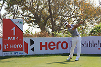 Wenchong Liang (CHN) in action on the 1st during Round 4 of the Hero Indian Open at the DLF Golf and Country Club on Sunday 11th March 2018.<br /> Picture:  Thos Caffrey / www.golffile.ie<br /> <br /> All photo usage must carry mandatory copyright credit (&copy; Golffile | Thos Caffrey)