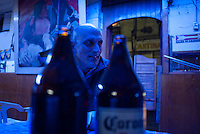 Kurt at La Loncheria de Mexico bar behind the Teatro Blanquita. Night bicycle rides rides with Kurt Adrian and Mike.  Alamenda, teatro Blanquita, Garibaldi, Tlaltelolco.  Mexico City.