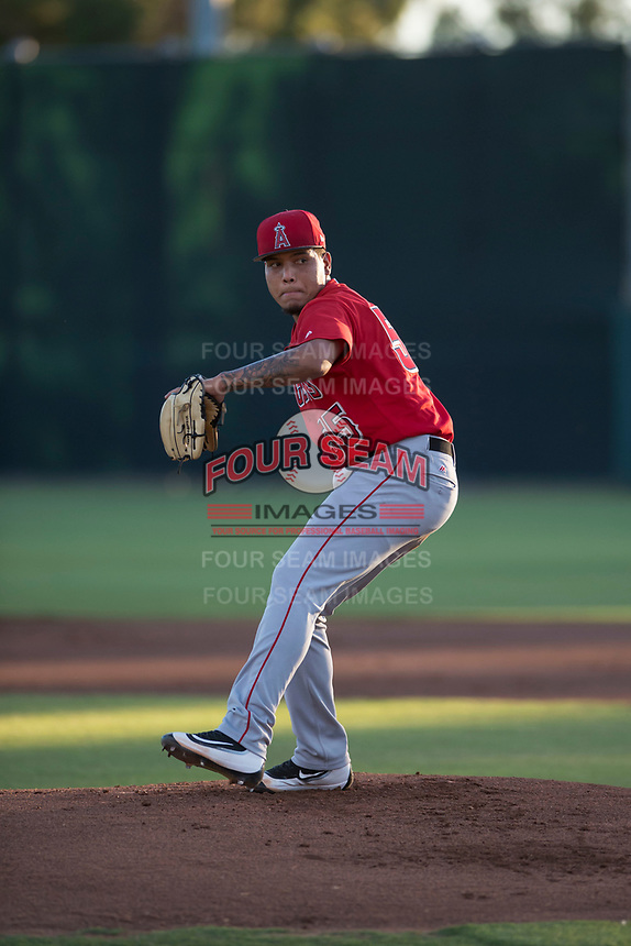 AZL Angels starting pitcher Jose Natera (55) delivers a pitch during an Arizona League game against the AZL Giants Black at the San Francisco Giants Training Complex on July 1, 2018 in Scottsdale, Arizona. The AZL Giants Black defeated the AZL Angels by a score of 4-2. (Zachary Lucy/Four Seam Images)