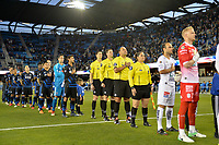 San Jose, CA - Saturday March 24, 2018: San Jose Earthquakes, referees during an international friendly between the San Jose Earthquakes and Club Leon FC at Avaya Stadium.