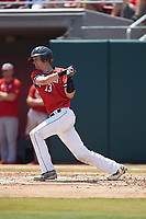 Michael Geaslen (13) of the Northeastern Huskies follows through on his swing against the North Carolina State Wolfpack at Doak Field at Dail Park on June 2, 2018 in Raleigh, North Carolina. The Wolfpack defeated the Huskies 9-2. (Brian Westerholt/Four Seam Images)