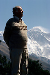 Sir Edmund Hillary with Mount Everest, Thyangboche, Nepal, April 1987.<br />