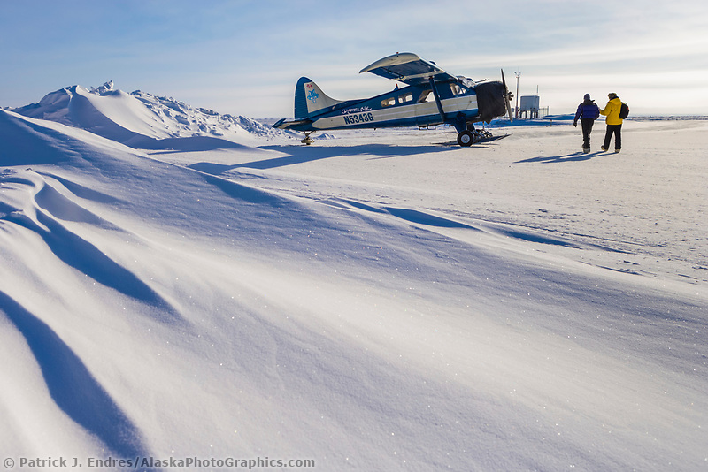 Coyote Air bush plane on skis at the Nuiqsut airport, Arctic north slope, National Petroleum Reserve in Alaska.