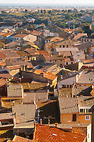 Gruissan village. La Clape. Languedoc. Village roof tops with tiles.. France. Europe.