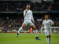 Real Madrid's  Marco Asensio celebrates goal and UD Las Palmas'  during La Liga match. November 5,2017. (ALTERPHOTOS/Inma Garcia)
