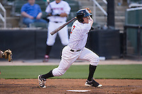 Landon Lassiter (2) of the Kannapolis Intimidators follows through on his swing against the Delmarva Shorebirds at Kannapolis Intimidators Stadium on April 21, 2016 in Kannapolis, North Carolina.  The Intimidators defeated the Shorebirds 9-3.  (Brian Westerholt/Four Seam Images)