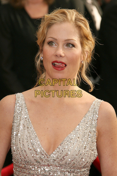 CHRISTINA APPLEGATE.14th Annual Screen Actors Guild Awards held at the Shrine Auditorium, Los Angeles, California, USA..January 27th, 2008.arrivals SAG headshot portrait silver beaded beads sequins sequined sparkly tongue mouth open .CAP/ADM/RE.©Russ Elliot/AdMedia/Capital Pictures. *** Local Caption *** .