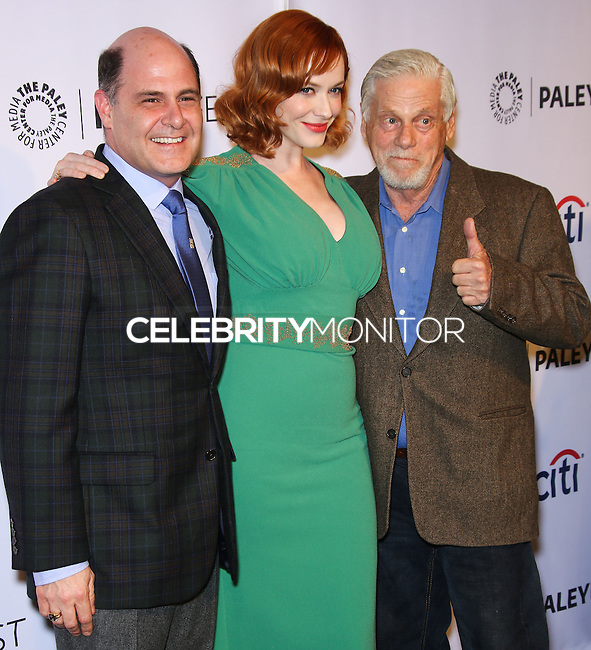 "HOLLYWOOD, LOS ANGELES, CA, USA - MARCH 21: Matthew Weiner, Christina Hendricks, Robert Morse at the 2014 PaleyFest - ""Mad Men"" held at Dolby Theatre on March 21, 2014 in Hollywood, Los Angeles, California, United States. (Photo by Celebrity Monitor)"