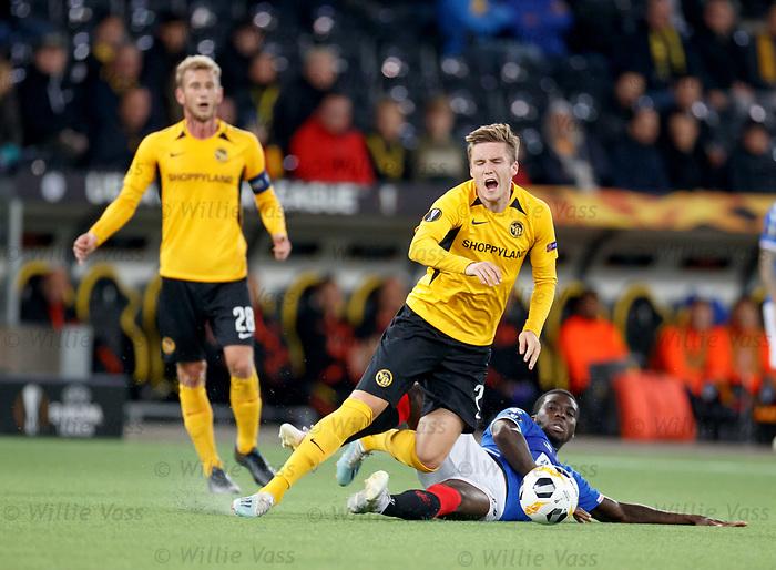 03.10.2019 Young Boys of Bern v Rangers: Sheyi Ojo fouls Michel Aebischer