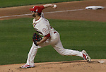 Cardinals starting pitcher Joe Kelly throws in early innings of Game 3 of the World Series against the Boston Red Sox.