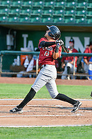 Angelo Castellano (13) of the Idaho Falls Chukars  follows through on his swing against the Ogden Raptors during the Pacific Coast League game at Smith's Ballpark on August 29, 2016 in Salt Lake City, Utah. The Chukars defeated the Raptors 3-0. (Stephen Smith/Four Seam Images)