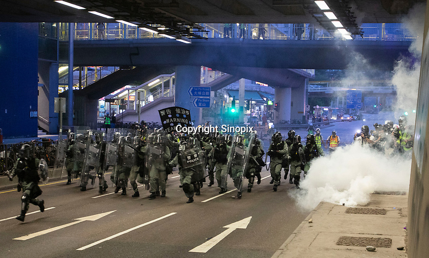 Hong Kong police are seen during an operation to clear anti-Extradition Bill protestors in Tai Wai, New Territories, Hong Kong, China, 10 August 2019.