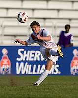 Samuel Piette (2) of Canada crosses the ball during the semifinals of the CONCACAF Men's Under 17 Championship at Catherine Hall Stadium in Montego Bay, Jamaica. Canada defeated Panama, 1-0.